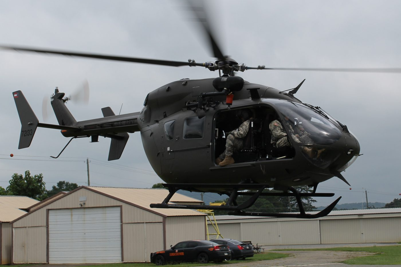 National Guard helicopter departing