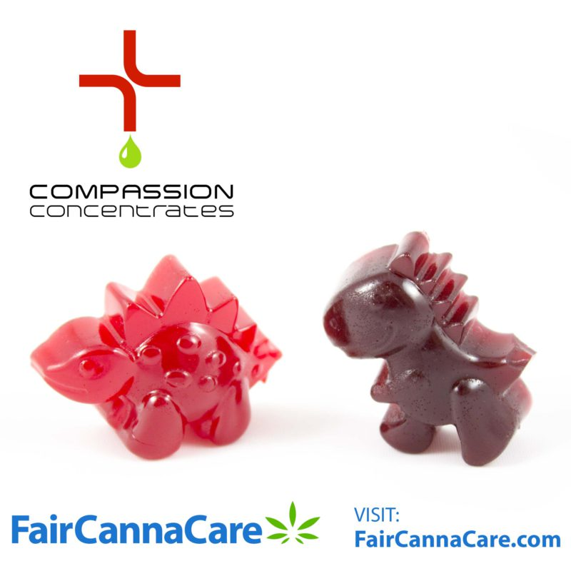 FairCannaCare image of two THC gummies in Dino forms