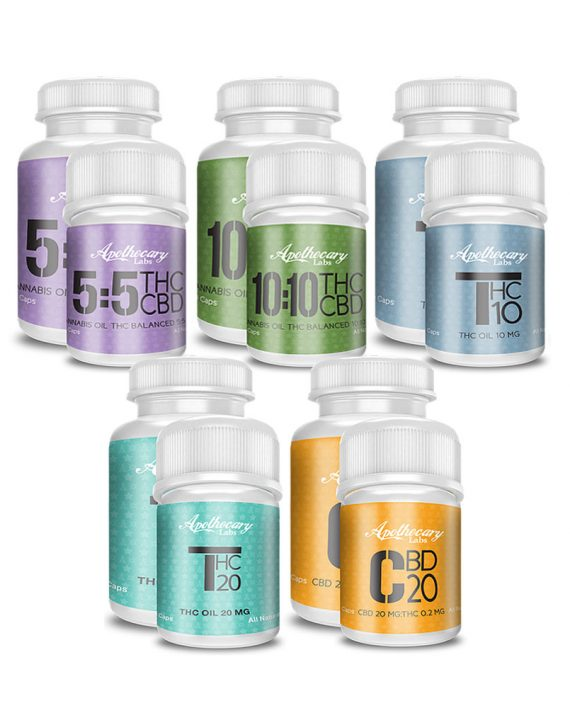 Cannabis capsules in four formula bottles