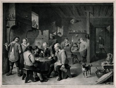 mid 19th century print of pub scene