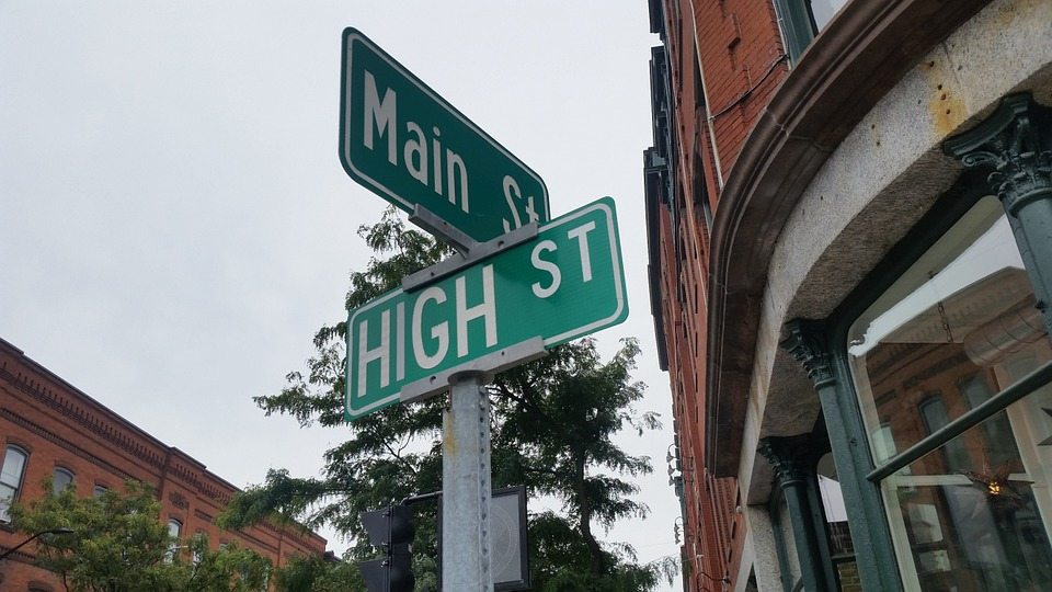 street sign of Main St. and High St.