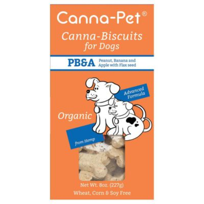 package of Canna Pet Peanut Butter flavour hemp bisquits